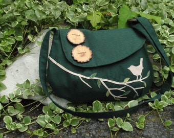 Bird Handbag, VeganTote, Eco-friendly Purse, Nature Messenger Bag, Applique using Vegan Ultra Suede