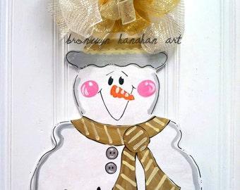 Silver + Gold Snowman Door Hanger - Bronwyn Hanahan Art