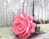 Pink Pearl Finish Rose Ring, Big Rose Rings by Liz Hutnick, Adjustable Statement Ring