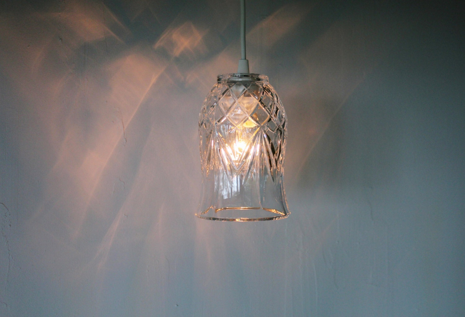 Crystal Tulip Hanging Pendant Lamp Upcycled Hanging Lighting
