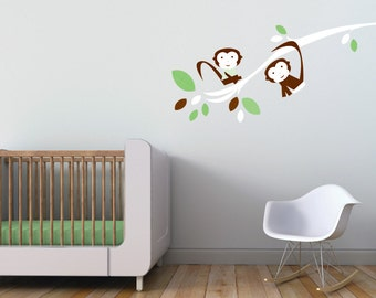 Green Baby Nursery Decor. Branch with Monkeys Children Wall Decal