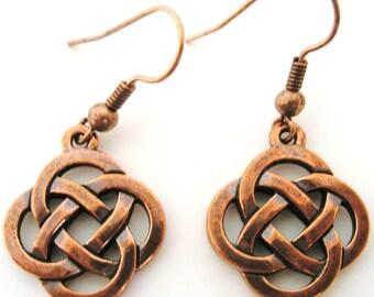 Copper  CELTIC Knot Open Round  KNOT IRISH Earrings