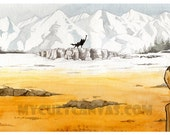 "Original ""Canis Lupus"" Art Print 10"" x 20"" Poster Fantastic Mr. Fox Wes Anderson"