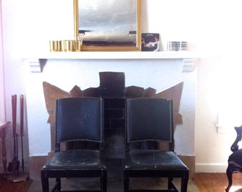 1960s Age Distressed Black Emerald and Gold Tacked Square Back Chairs