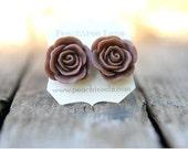 Large Chocolate Brown Rose Earring << Bridesmaid Gifts >> Bridesmaid Earrings << Rustic Wedding
