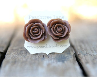 Large Chocolate Brown Rose Earring << Bridesmaid Gifts >> Bridesmaid Earrings << Rustic Wedding