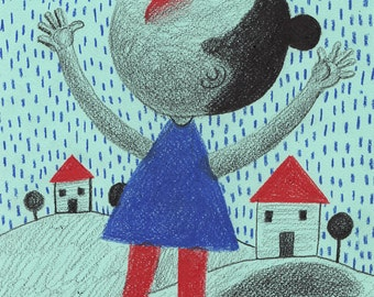 Little rain falls on me- ORIGINAL PENCIL  ILLUSTRATION / Red nose /  Colored pencil drawings / girl drawing / Children illustration