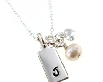 Simple and Elegant Personalized Initial  Necklace - Sterling Silver Hand Stamped Jewelry By Hannah Design