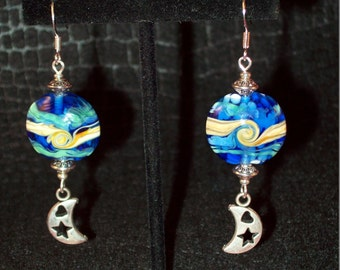 Cobalt Blue Mystic Crescent Moon Lampwork Beaded Dangle Earrings