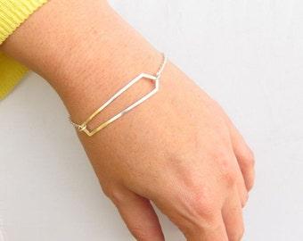 Long Geometric Crystal Chain Bracelet