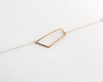 Geometric Rectangle Chain Bracelet - Bronze and silver
