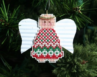 Angel Christmas Tree Ornament - Angel Dana - Cross Stitched Holiday Ornament - Free U.S. Shipping