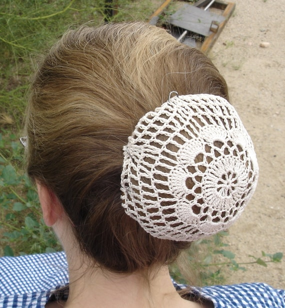 Crochet Hair Cover : Natural Hair Net / Bun Cover Sz Medium Crocheted Flower Style Amish ...