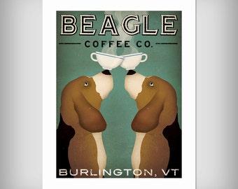 ADD YOUR CITY Personzalized Beagle Coffee Tea Company graphic art giclee print Signed