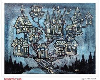 Treeville, Tree House Series Art Print 11x14