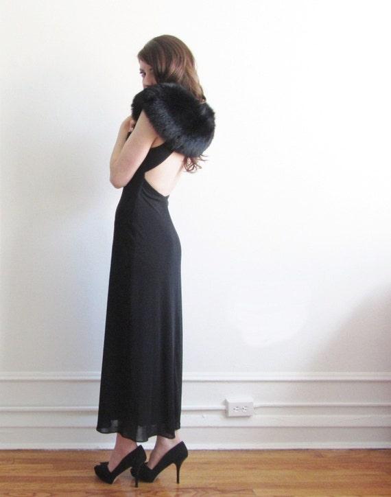 r e s e r v e d fox fur capelet . genuine fox shoulder wrap . silk ties .sale