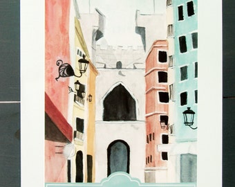 Valencia, Spain Travel Poster art print of an original watercolor illustration