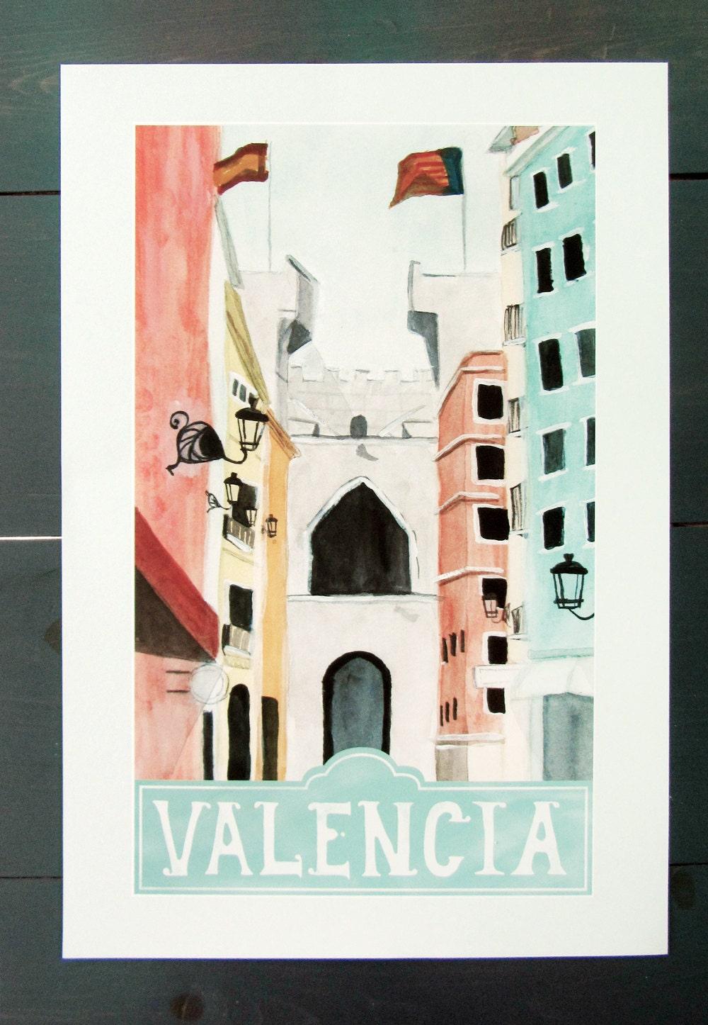 Valencia spain travel poster art print of an by - Vintage valencia ...