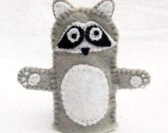 Raccoon finger puppet, raccoon, felt finger puppet
