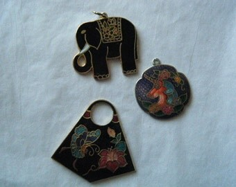 Cloisonne Pendants Elephant Unicorn