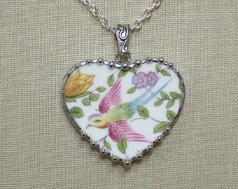 Broken China Jewelry Cotswold Rainbow Bird Large Heart Pendant Necklace