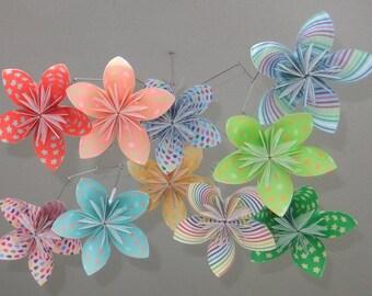 Flower Mobile 'Whimsical Rainbow ', Paper Flower Mobile, Nursery Mobile, Baby Mobile, Floral Nursery Decor, Baby Shower Gift, Flower Decor
