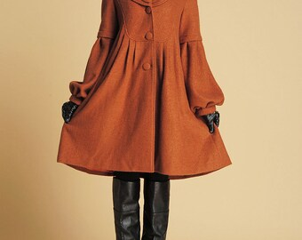 Brown winter warm coat woman wool jacket (383)