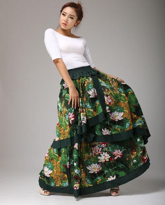 tiered skirt, Floral skirt - green lotus print skirt - women maxi linen skirt - flamenco style long skirt with elasticated waist (656)