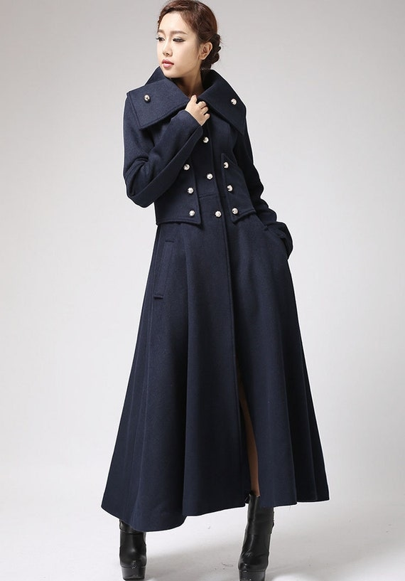 Military Style Coat - Womens Cashmere Coat - Long Dress Coat - Handmade Wool Coat - Blue Coat - Wool Jacket - Long Wool Coat  (701)