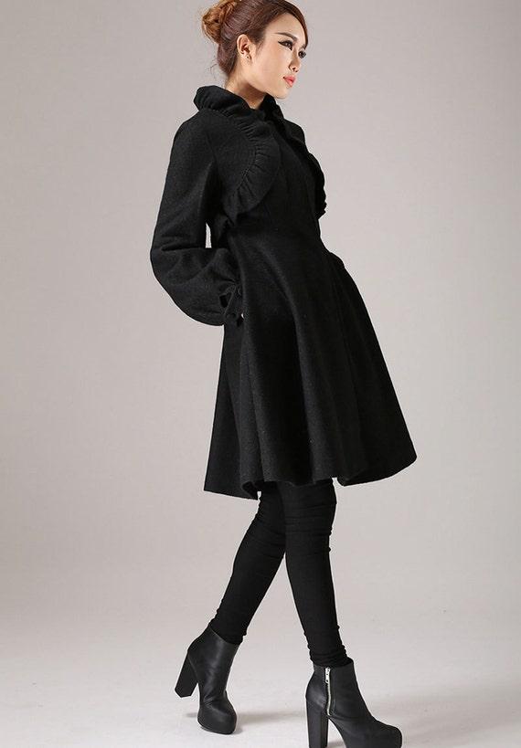 Designer clothing black coat ruffle coat winter jacket