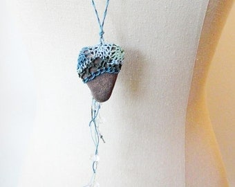 Rock Necklace, Woven Textile Jewelry, Fiber Art Smooth Rustic Stone Necklace, Blue Green ST1