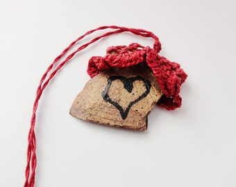 Fiber Pottery Necklace, Heart, Lacy Ruffled Necklace, Red Brown, I give you my heart PF10