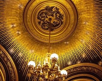Paris decor, Paris Opera Photograph, Black and Gold, Stars, Dragons, Paris Wall Art, Paris Photography - Black Gold