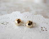 Stud Earrings | Gold Earrings | Gold Faceted Ball Studs | E70035
