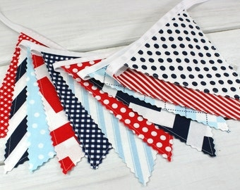 Bunting Banner Flags, Photography Prop, Nautical Nursery Decor - Red, Navy Blue, Light Blue, Baby Blue, Chevron, Dots