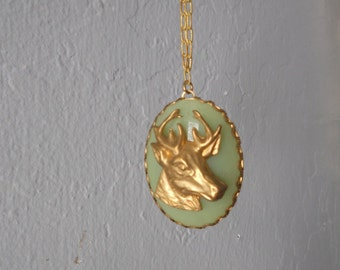 Deer Cabochon Green Woodland Necklace