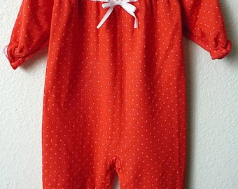 Vintage Baby Girl's 80's Carter's Romper, Jumper, Red, White, Lace (12 mos.)