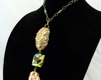 SALE On Sale One of a Kind Copper and Bronze Clay and Fused Dischroic Glass Necklace