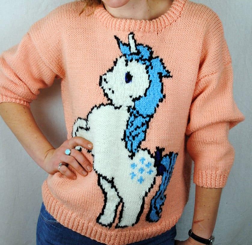 Knit Unicorn Horn Pattern : Rare my little pony knit unicorn sweater