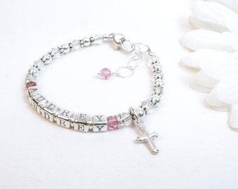 Baby Girl Name Bracelet // Baby Bracelet // Baptism Bracelet // Silver Baby Bracelet // Child Name Bracelet // Beaded Name Bracelet