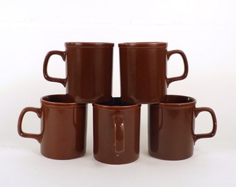 Vintage Coffee Cup Set of 5 - Brown Mugs, Teacup Made in Japan 1070s, Serving housewares , Kitchen Home Decor