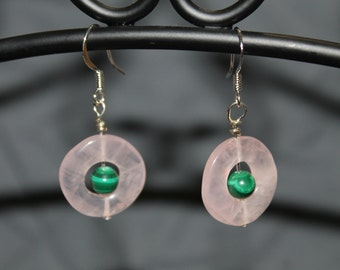 Rose Quartz and Malachite Earrings