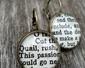 Shakespeare Jewelry,  Book Earrings, Geek Jewellery, Bronze Round Earrings