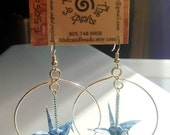 Unique Origami Crane Word-Bird Hoop Earrings |FREE SHIPPING| light blue recycled-upcycled-reclaimed-repurposed literary paper #e505 marlisa