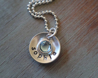 Personalized sterling silver jewelry hand stamped name birthstone disc neckalce