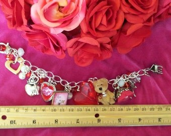 Love Signs Valentine's Charm Bracelet , Forget Me Not Vintage Charm Bracelet , Teddy Bear Charm Bracelet , Valentine's Day Charm Bracelet