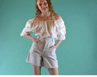 Vintage 80s High Waisted Shorts P S GITANO Stripe Denim Short High Waist Flare Cuffed Leg Denim Shorts 28 Waist