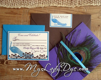 100 Peacock Wedding Invitations - The Rylan Collection - By My Lady Dye