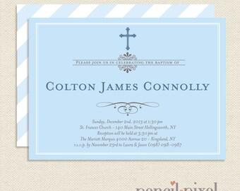 Baptism Invitations, Boy, Printable file with full customization