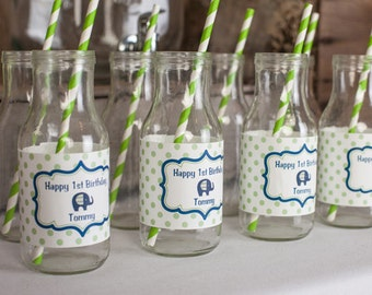 Elephant Birthday Party Water Bottle Labels - Elephant Birthday Party Decorations - Elephant Labels - Navy Blue and Green (12)